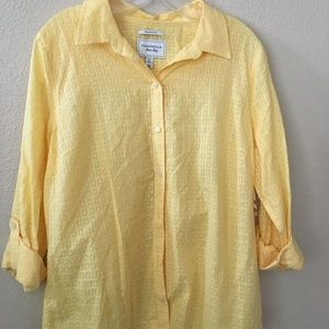Charter Club Yellow Relaxed Fit Button Down Shirt